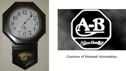 Schoolhouse clock and A-B trademark.